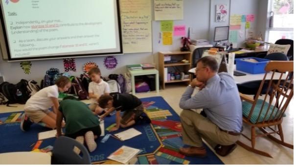 Michael D. Toth visiting a classroom